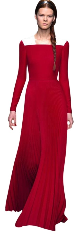 Valentino Red Couture Pleated Sleeve Gown Long Formal Dress Size 4 ...