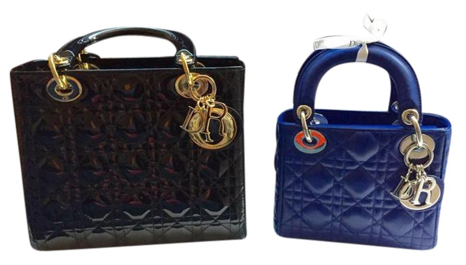 a6f6713130 Dior Lady Dior Mini Royal Blue Lamb Skin Cross Body Bag - Tradesy