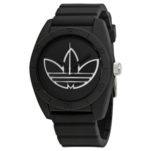 Adidas ADH3189 Santiago Unisex Black Rubber Band With Black Dial Watch