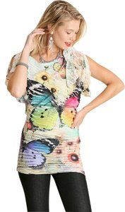 Umgee Animal Print Bias Cut Top Multi-Color Butterfly Sublimation