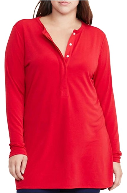 Item - Brilliant Red Jersey Stretch Crepe Henley Tunic 1x Blouse Size 20 (Plus 1x)