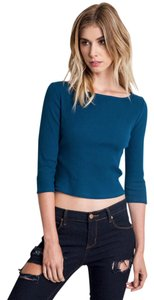 Umgee Boat Neck Crop Ribbed 3/4 Sleeve Ribbed Top Forest