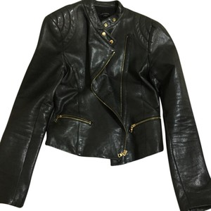 Ann Taylor Black with gold accents Leather Jacket