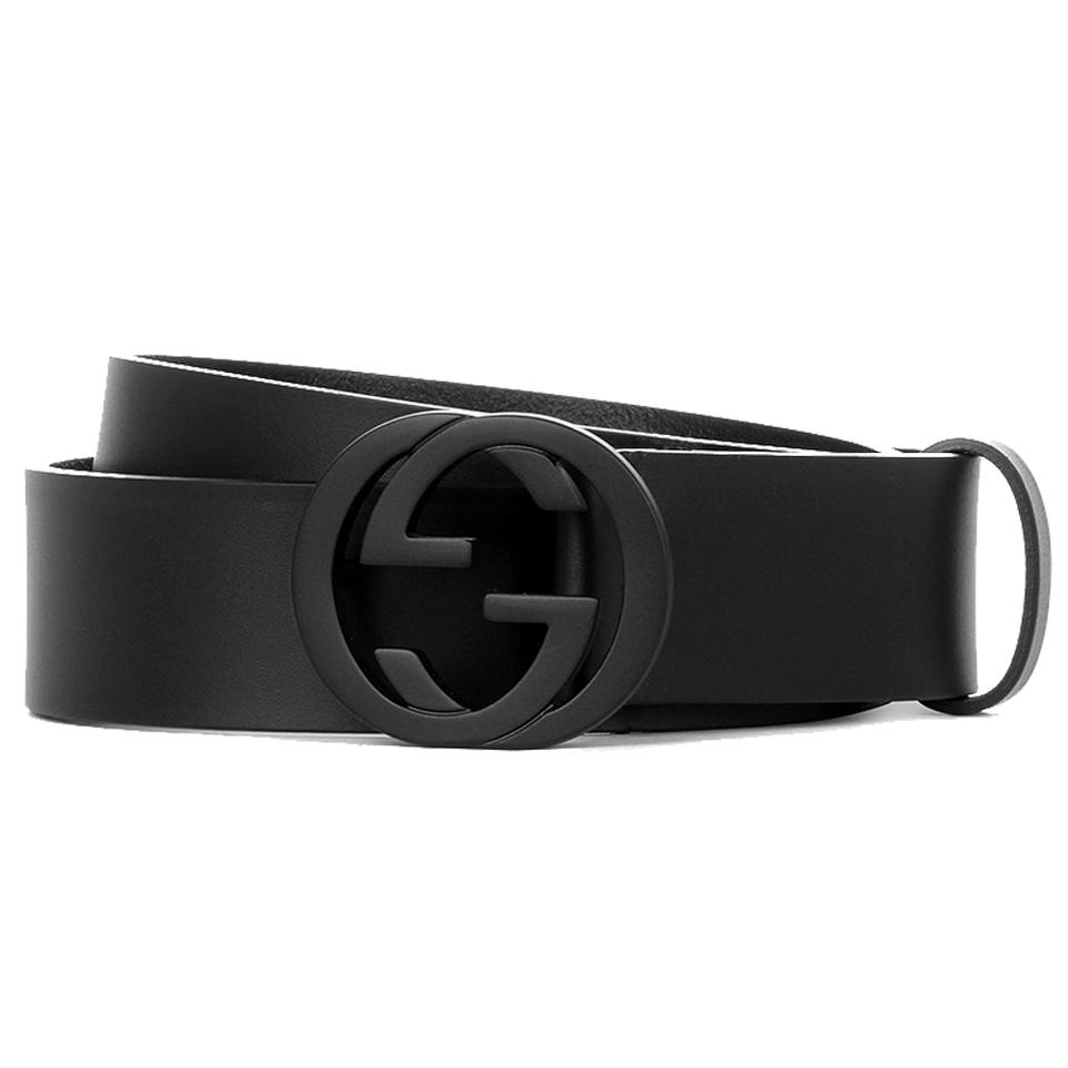 8c11a8e57 Gucci Gucci Men's Navy Blue Leather Belt with Interlocking G Buckle 368186  Image 0 ...