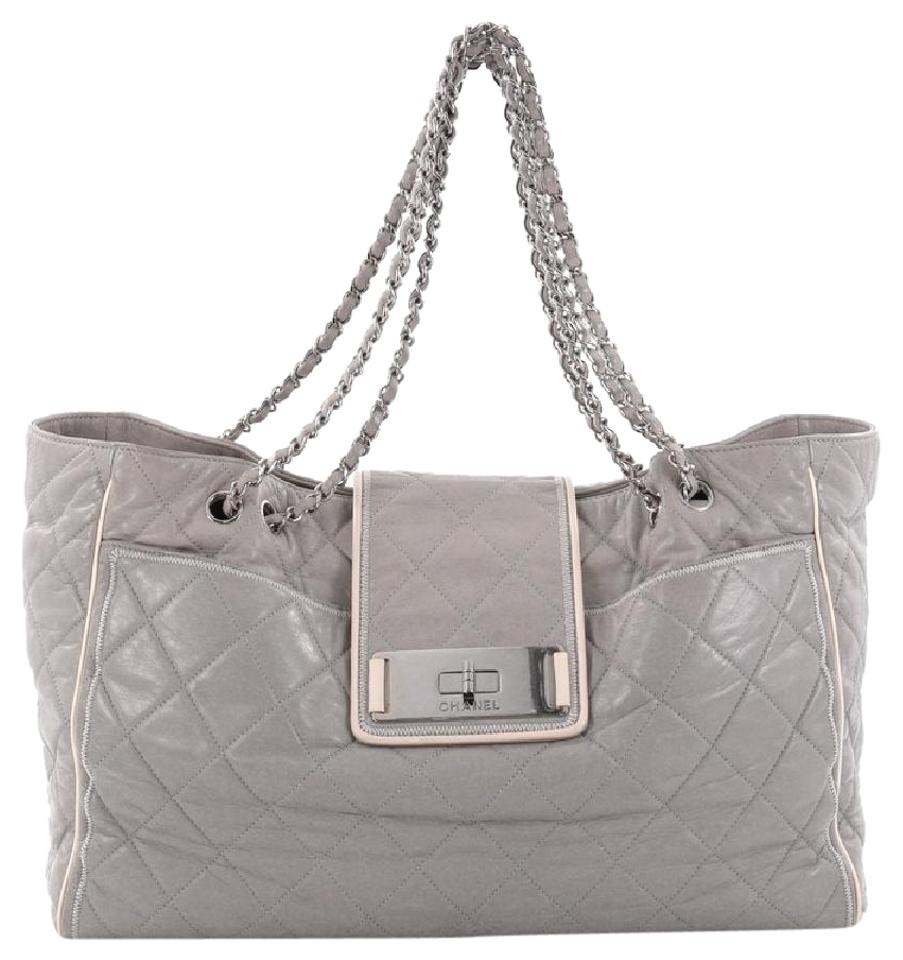 2a564bd9e35b28 Chanel Mademoiselle East West Lock Quilted Large Gray Leather Tote ...
