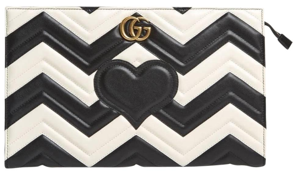 7fb2d67567d6a9 Gucci Marmont Gg Matelasse Black & White Leather Clutch - Tradesy