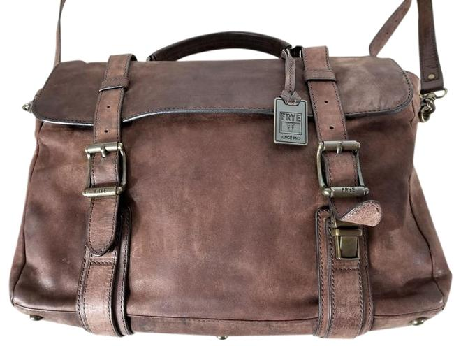 Item - Men's Logan Flap Brief Case Brown Nubuck Leather Laptop Bag