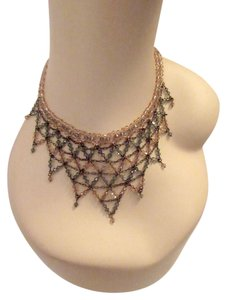 Erickson Beamon Crystal Net Bib Necklace Delicate Pink Gray Elegant