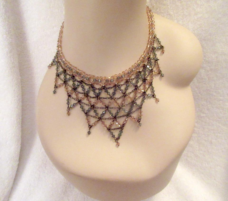 Erickson Beamon Pink And Gray Crystal Net Bib Delicate Elegant