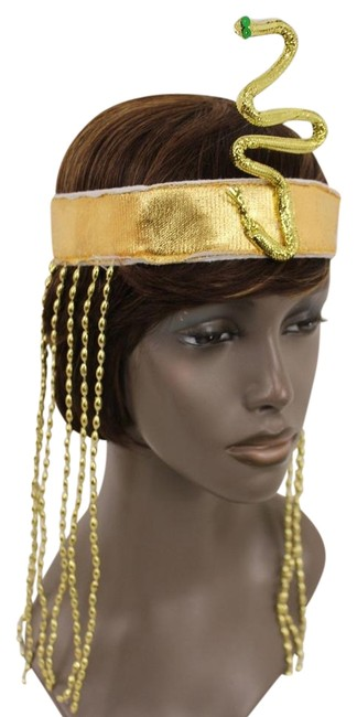 Item - Gold Women Long Beads Band Forehead Fashion Head Snake Cleopatra Costume Hair Accessory