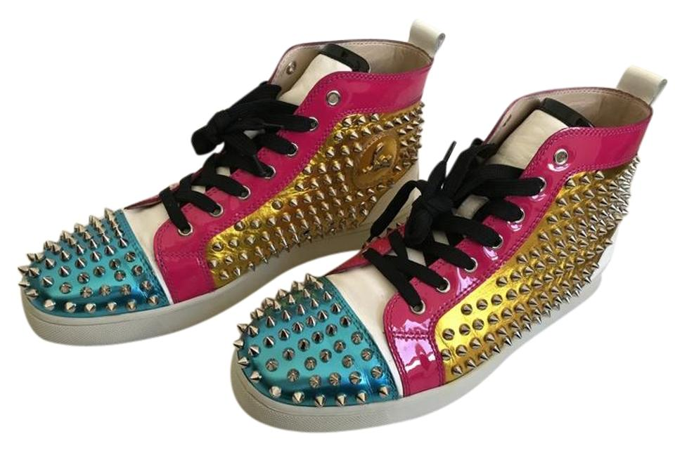 efc59eba336 Christian Louboutin Multi Color/Silver Spikes Louis Flat Specchio  Calf/Patent/Spikes Sneakers Size US 9.5 Regular (M, B) 54% off retail