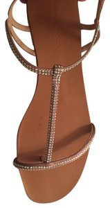 Pelle Moda Crystal T Strap Jeweled Tan Sandals