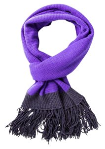 Chanel Purple Cashmere Knit Ribbed Fringe Scarf NWT