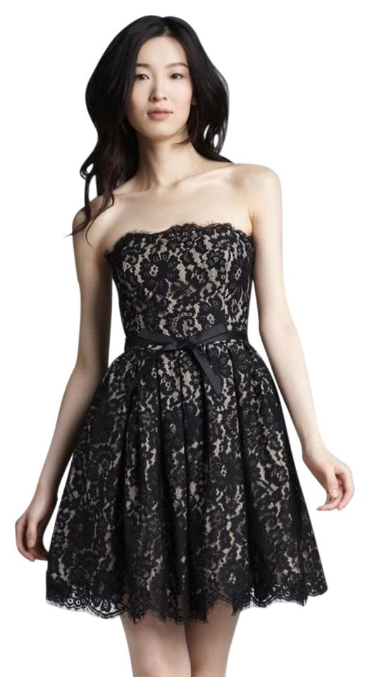 Robert Rodriguez Black Lace Strapless Mid Length Night Out Dress