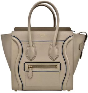 Cline Luggage Tote in Micro Light Taupe with Blue Accent