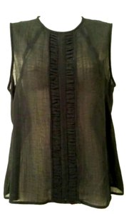 Jones New York Sheer Faux Leather T-shirt Top black
