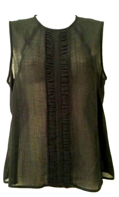Jones New York Sheer Faux Leather T-shirt Party Top black