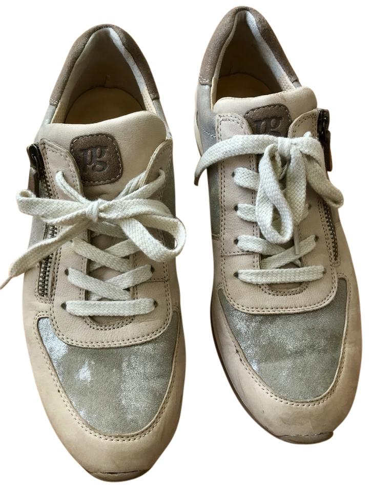 classic shoes premium selection authorized site Paul Green Gold Metallic/Taupe Leather Mixed Sneakers Size US 8 Regular (M,  B) 72% off retail