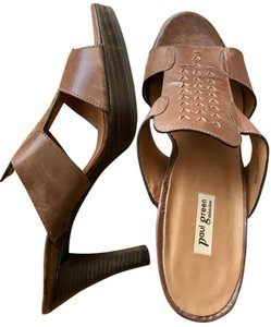 Paul Green Size 8 Leather Slip On Brown Sandals