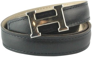 Herms Black and Cream Reversible 13mm Constance