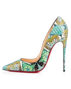 Christian Louboutin Sokate Kate Pigalle Stiletto Python blue Pumps