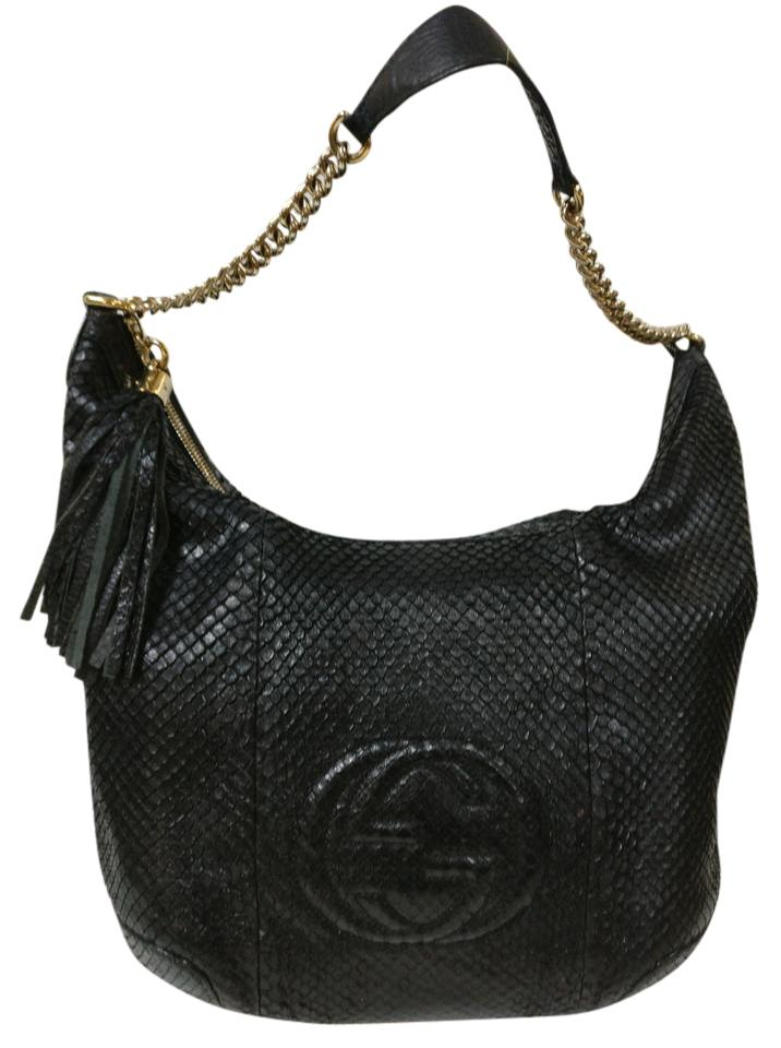 a4d0107e0eb6 Gucci Soho Python Chain W Tassel Black Leather Shoulder Bag - Tradesy