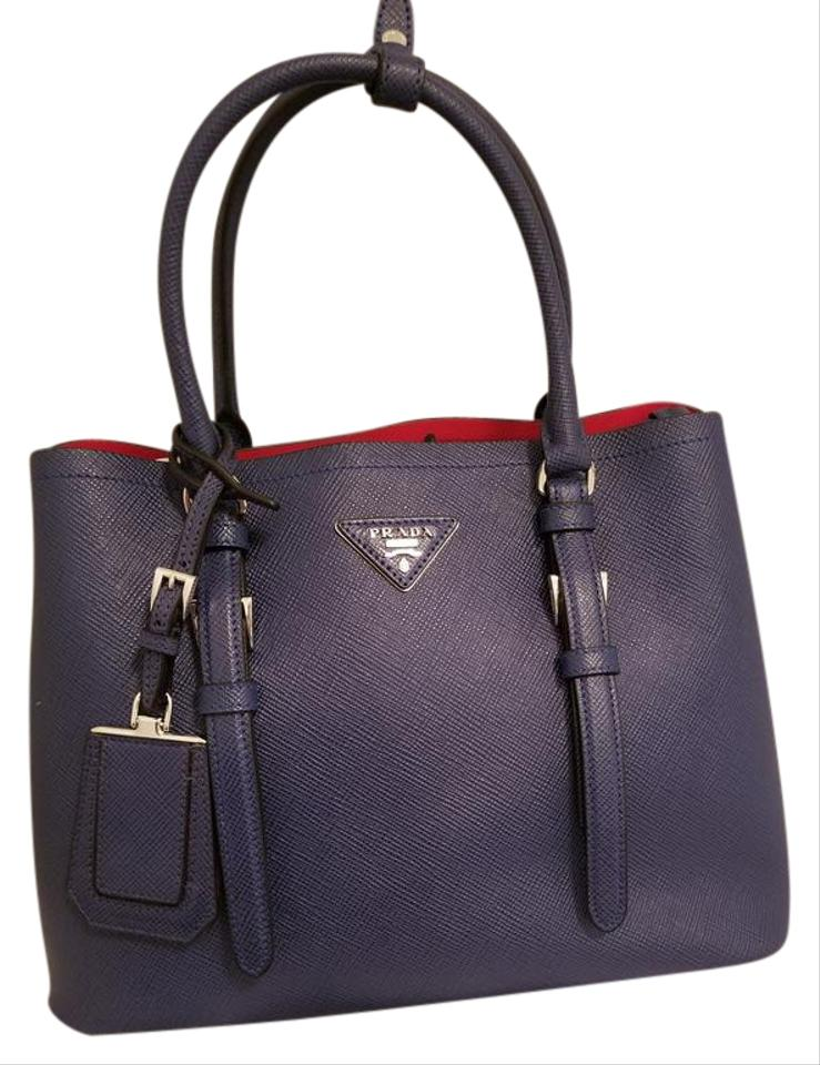 01fcb3cc4766ff Prada Blue Outside Red Inside. Leather Covered strap Double Bag. Tote -  Tradesy