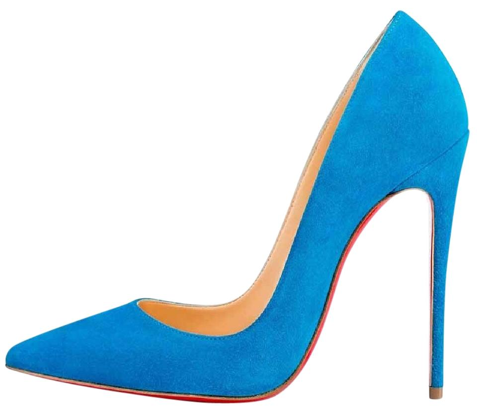 77a55178090a03 Christian Louboutin Blue So Kate 120 Egyptian Suede Heel Pumps Size ...