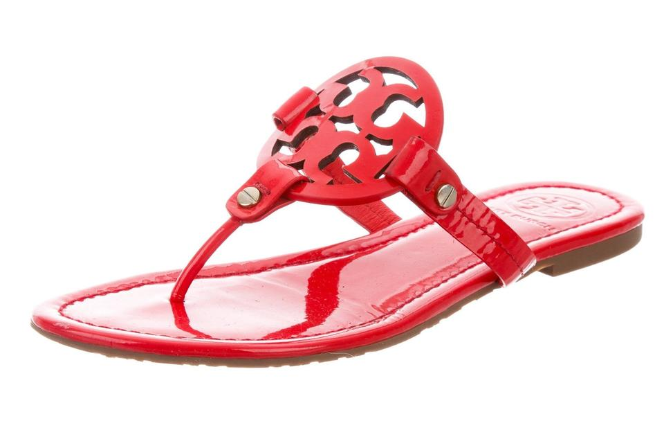 92b19975f8e8 Tory Burch Gold Hardware Miller Reva Logo Patent Leather Red Sandals Image  0 ...