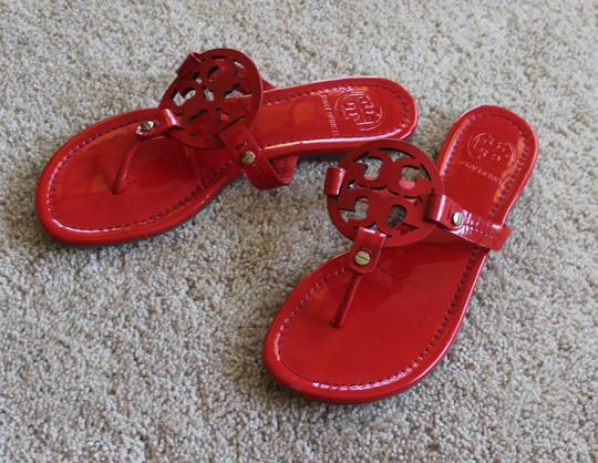 7013172c4 ... Tory Burch Gold Hardware Miller Reva Logo Patent Leather Red Sandals  Image 1