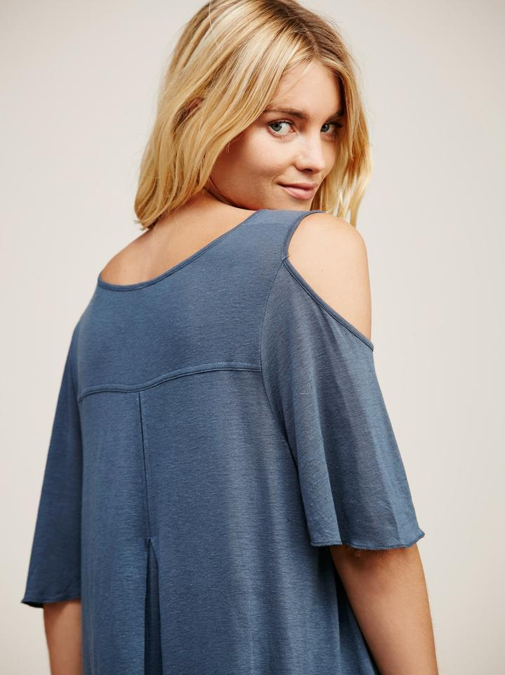 c54c83410a1659 Free People Denim Blue Bittersweet Cold Shoulder Tee Shirt Size 4 (S ...