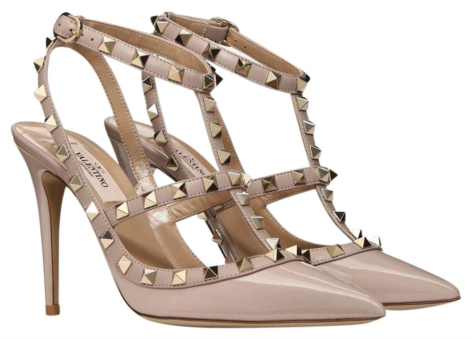 24bb3c2dbb0b1 Valentino Nude Classic Poudre Rockstud Embellished Cage Patent Leather 100mm  Pumps