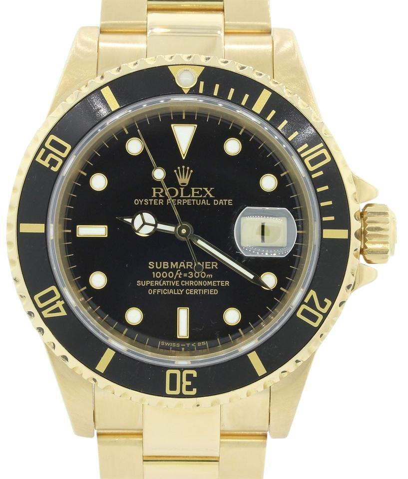 16618 18k solid yellow gold black dial 40mm dive watch b p - 40mm dive watch ...