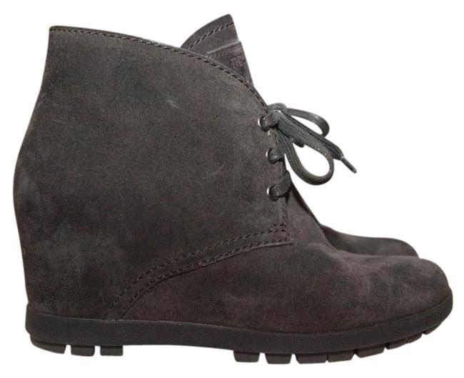 Item - Gray Suede Hidden Concealed Wedge Lace Up Boots/Booties Size EU 37.5 (Approx. US 7.5) Regular (M, B)