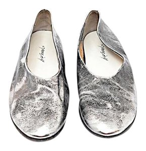 Marsell Hand Made Distressed Leather Silver Flats