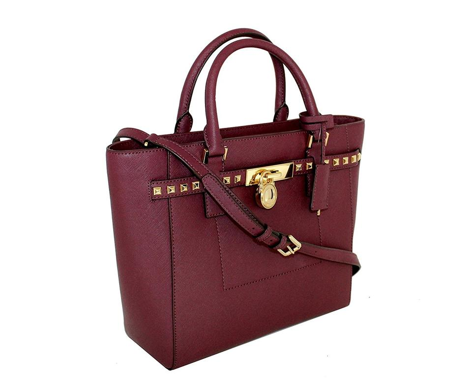 0dc6a679da91 Michael Kors Hamilton Lock Key Studded Satchel in Plum Image 0 ...