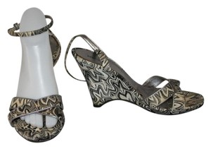 Missoni Ankle Strap Black and ivory Wedges