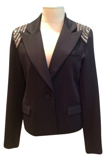 Preload https://img-static.tradesy.com/item/2228987/millau-black-vintage-with-metal-stud-trimmed-shoulders-blazer-size-4-s-0-0-650-650.jpg