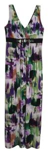 Purple, Green, Black Maxi Dress by Ronni Nicole Embellished Beaded Gems Comfortable Stretchy