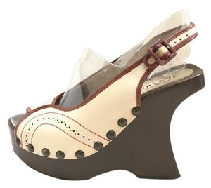 Marni Wooden Heel Retro Ivory with red accents Platforms