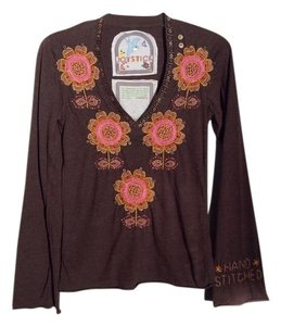 Joystick Beaded Bohemian Embellished Woven Floral Top Brown, Pink