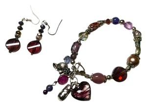 New Charm Bracelet Purple Silver W/ Earrings Set Crystals J785
