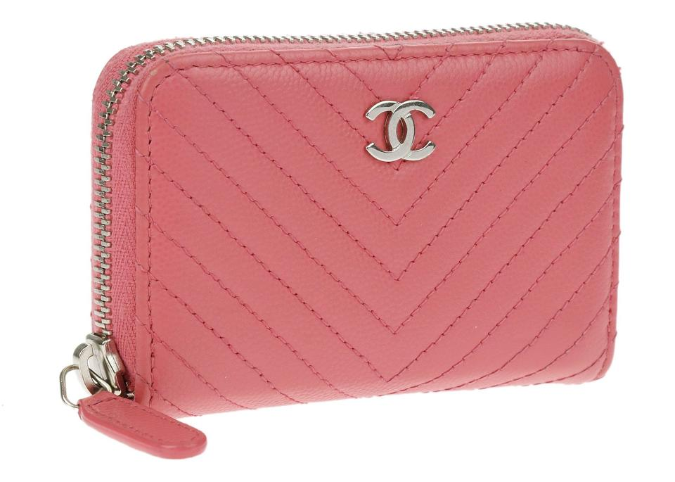 f2fa1862c5a0 Chanel Chanel Pink Caviar Chevron Quilted Zip Around Coin Purse Image 5.  123456