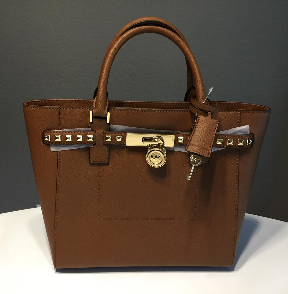 57b1c4e393d6 ... Michael Kors Womens Hamilton Traveler Studded Large Handbag Luggage  Leather Satchel - Tradesy Michael Kors Totes ...