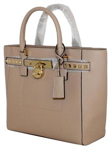Michael Kors Hamilton Studded Leather Saffiano Satchel in Oyster