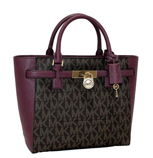 fd58cd0574da Michael Kors Hamilton Purple Fall Handbag Tote in Plum   Signature Brown  Image 0 ...