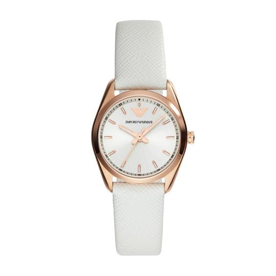 Emporio Armani Emporio Armani White Leather Strap Rose Gold Case Sportivo Watch AR6033