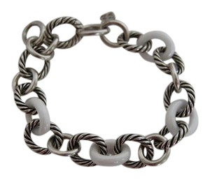 David Yurman David Yurman Large Sterling Silver Oval / White Ceramic Links Bracelet