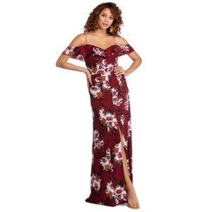 2496cb5284e1 Burgundy (wine) floral Maxi Dress by Windsor Cocktail Maxi Evening Gown
