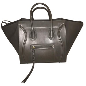 Céline Large Phantom Leather Tote in Charcoal Gray